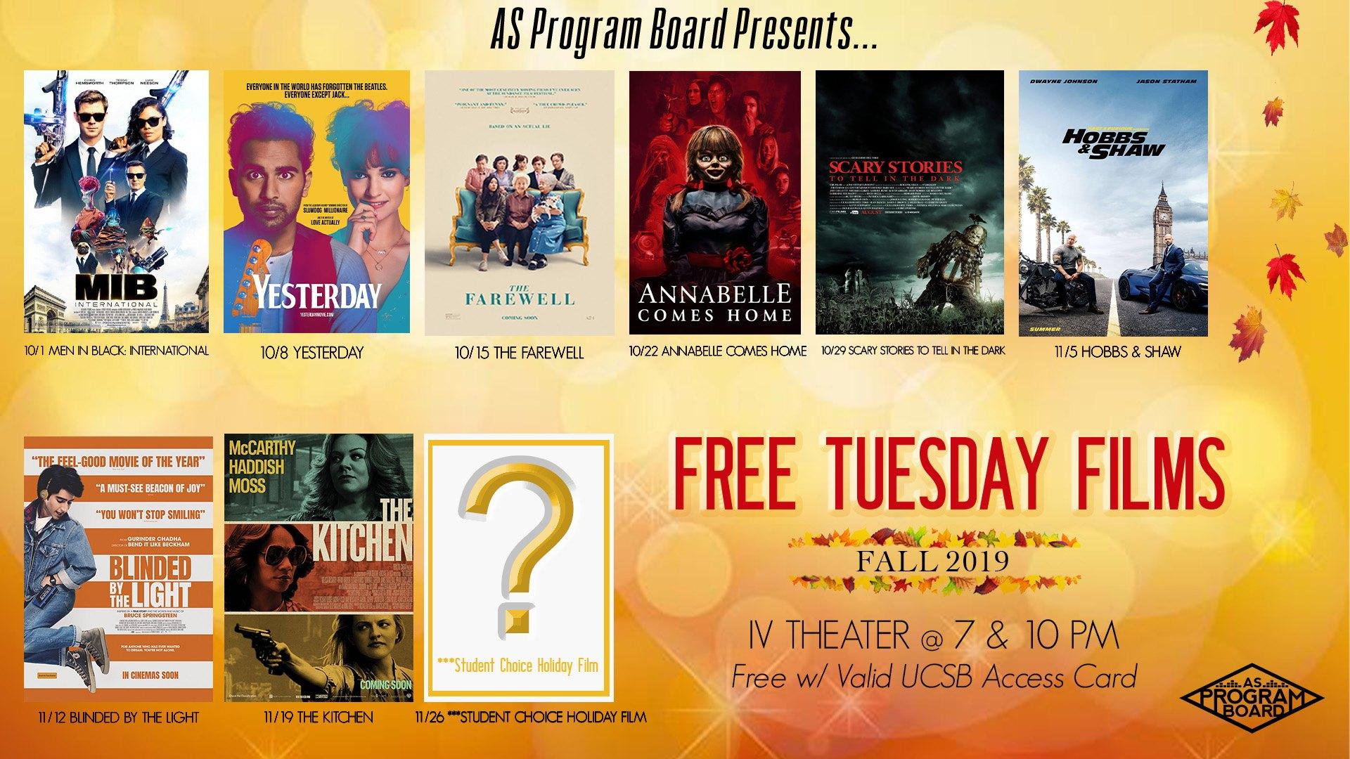 Free Tuesday Films Fall 2019